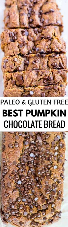 Easy Pumpkin Chocolate Chips bread. Grain free & gluten free bread recipe. The best Paleo Breakfast recipes made with pumpkin! Healthy easy to make recipes for breakfast waffles, best pancakes, flourless chocolate muffins- with pumpkin! All the best paleo pumpkin recipes in one place!