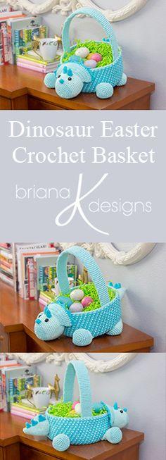 Dinosaur Easter Basket Crochet Pattern by Briana K Designs. Egg hunting fun :)