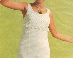 vintage crochet pattern ladies dress empire waist tank top cocktail knee legnth go go retro 1960s dk e hook printable pdf instant download