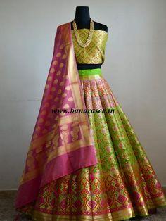 Banarasee/Banarasi Handwoven Art Silk Unstitched Lehenga & Blouse Fabric With Meena Work & Pink Dupatta-Bright Green