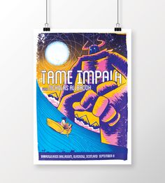 Gig poster for Tame Impala, Glasgow, Barrowlands. 4 Colour A2 Screenprint Designed & Printed by scottduffey.co.uk