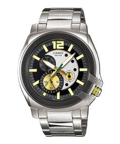 Casio Men's MTP1316D-9AV Silver Stainless-Steel Quartz Watch with Grey Dial Casio. $47.00. Quartz Movement. 50 Meters / 165 Feet / 5 ATM Water Resistant. Mineral Crystal. 49mm Case Diameter