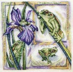 Лягушки на ирисе - Животные - Схемы вышивки - Иголка