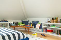 In this virtual room design, the youngest boy's bedroom incorporates his love of chess with some cherished vintage pieces, balanced by industrial metal elements. Older Boys Bedrooms, Kids Bedroom, Bedroom Ideas, Corner Reading Nooks, Low Bookshelves, Interior, San Francisco, Homesense, Play Table