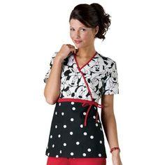 Cherokee Tooniforms Miss Minnie Mouse Print Empire Waist Mock-wrap Scrub Tops Main Image Scrubs Outfit, Scrubs Uniform, Scrubs Pattern, Disney Scrubs, Cute Scrubs, Work Uniforms, Nursing Uniforms, Medical Scrubs, Peeling
