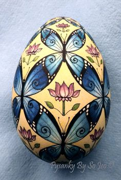 WIP Prevarnish - Butterlies Turkey Egg Pysanka Pysanky Ukrainian Easter Egg Batik Art by So Jeo