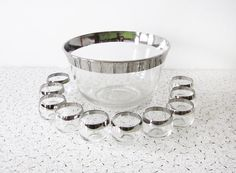roly poly punch bowl set / vintage silver dorothy thorpe style punch bowl set / mad men glasses