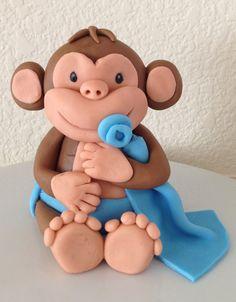 Baby monkey fondant cake topper, baby shower, birthday, edible