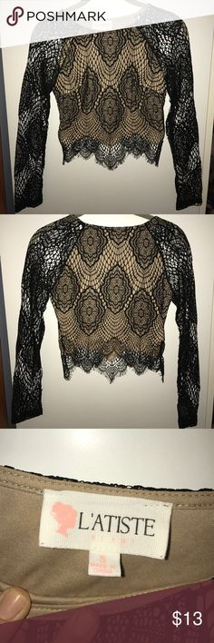 Nude/Black Lace Crop Top Nude/Black Lace Crop Top. Sleeves are see though Lace. Only worn once, perfect condition! Perfect for going out. Size S. Tops Crop Tops