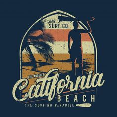 Illustration Surfing Theme, With A Silhouette Man And Surfboard, California Beach , Beach Design, Surf Design, California Surf, Vintage California, Event Poster Template, Holi Festival Of Colours, Shark Logo, Comic Poster, Abstract Paper