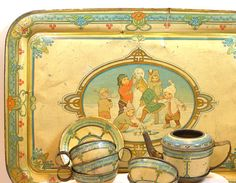 1919 Snowman Tin Toy Tea Set by Wolverine 11 by OldeTymeNotions