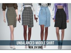 [Newen] Sims4 Unbalanced Middle Skirt - The Sims 4 Download - SimsDomination