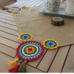[New] The 10 Best Home Decor (with Pictures) - Decorate your outdoor dining table with our one of a kind colorful yet simple square runner pick your colors and DM us with your order Crochet Mandala, Crochet Motif, Crochet Designs, Crochet Doilies, Crochet Flowers, Crochet Stitches, Embroidery Stitches, Hand Embroidery, Embroidery Designs