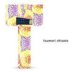 2016 Summer tsumori chisato Yukata Lattice Yellow Orange Purple Chrysanthemums