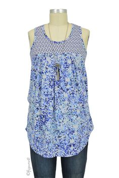 Milky Way Mixed Print Nursing Tank in Blue and White Mix Print.  Please use coupon code NewProducts to receive 15% off these items. To receive the discount, please place your order by midnight Monday, February 8, 2016