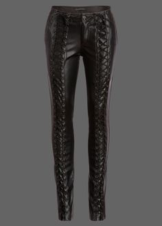Channel your inner rockstar! These badass pants by Punk Rave are made out of soft black vegan leather and will be sure to steal the show! These bad boys have a skinny fit and a rad laced up design al Punk Fashion, Leather Fashion, Fashion Pants, Fashion Outfits, Womens Fashion, Punk Outfits, Cool Outfits, Leather And Lace, Black Leather