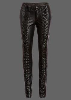 Rockstar Punk Rave Black Vegan Leather Lace-Up Pants