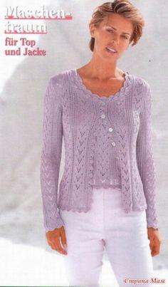 Maschen Mode № 698 2009 zdarma Lace Knitting Patterns, Knitting Stitches, Knitting Designs, Hand Knitting, Knitting Needles, Knit Fashion, Woman Fashion, Fashion Wear, Crochet Clothes