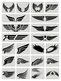 Wings — Vector EPS #heaven #retro • Download here → https://graphicriver.net/item/wings/9902074?ref=pxcr Thunderbird Tattoo, Logo Inspiration, Wings Logo, Airbrush, Wings Design, Cool Tattoos, Body Art Tattoos, Logo Design, Graphic Design