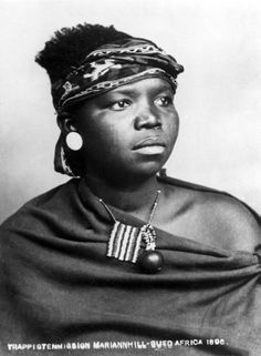 Africa | Portrait of a woman; possibly Zulu or Xhosa. South Africa. 1896. | © Trappistenmission Mariannhill, photographer
