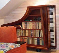 Repurposed Piano Bookshelf