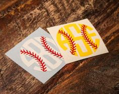 Baseball or Softball Monogram Sticker or Decal - for laptop, car, notebook, phone . Softball Crafts, Softball Shirts, Softball Mom, Fastpitch Softball, Baseball Mom, Softball Stuff, Softball Cheers, Softball Pitching, Softball Team Gifts
