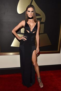 One word: wow! Thigh-high slits were a big Grammys trend, as was black - and Alessandra Ambrosio worked them both to perfection.
