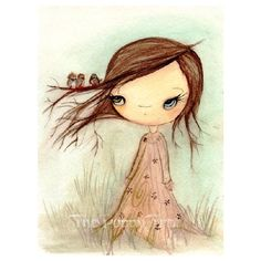 Tree Print Girl Bird Nature Wall Art Birds In My Tree 11 x 14 ($46) ❤ liked on Polyvore featuring home, home decor, wall art, water tree, ink painting, water ink painting, matte painting and bird painting