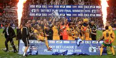 Southend United celebrate promotion after beating Wycombe Wanderers in a penalty shoot-out