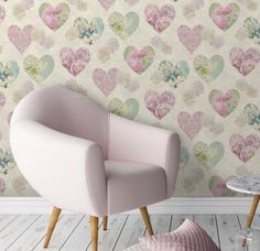 A beautiful novelty hearts design in pink and teal blue colours filled with subtle floral images. Suitable for most living areas, this paper can be used for a feature wall or to paper a whole room. Novelty Heart Wallpaper, from Fine Decor, Multi Coloured. Plain Wallpaper, Feature Wallpaper, Heart Wallpaper, Vintage Girls Rooms, Geometric Wallpaper Decor, Pvc Bathroom Cladding, Ceiling Cladding, Shabby Chic Pink, Inspiration Wall