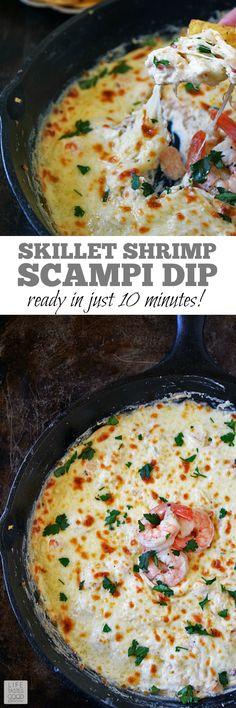 Skillet Shrimp Scampi Dip | by Life Tastes Good is an easy to make dip that puts a new spin on Shrimp Scampi. #LTGrecipes #FoodShouldTasteGood #sponsored