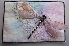 I ❤ beading embroidery . . . 3D embroidered dragonfly fabric postcard (stumpwork) ~By SharonB. of PinTangle