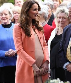 Mother-to-be, HRH Catherine, Duchess of Cambridge talks to the crowd during a visit to Naomi House Children's Hospice in Winchester.