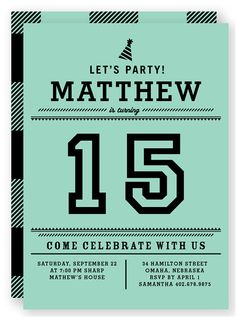Teen Boy's Birthday Invitation / Let's Party by fancyshmancynotes ...