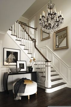 Love dark wood with the white & the chandelier!