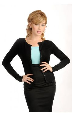 Pinup Girl Clothing- Classic Cardigan in Black | Pinup Girl Clothing Black, white, navy, fuscia