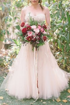 Pink wedding dress: http://www.stylemepretty.com/little-black-book-blog/2015/02/12/garden-fairytale-valentine-wedding-inspiration/ | Photography: Anna Delores - http://www.annadelores.com/