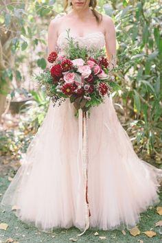 Pink wedding dress: http://www.stylemepretty.com/little-black-book-blog/2015/02/12/garden-fairytale-valentine-wedding-inspiration/ | Photography: Anna Delores - http://www.annadelores.com/