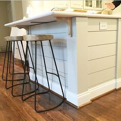 Take back the counter space! For this farmhouse style renovation, we decided to lower the split level countertop to one level. This gives my client-friend SO much more counter space! And the family loves shiplap but we gave the peninsula just a little touch to give it a subtle and clever detail. #myfarmhousefriend #simplesketchbookdesigns