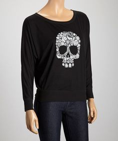 Loving this Black Floral Skull Dolman Top on #zulily! #zulilyfinds, $20 !!