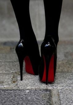 Tights and stilettos. #louboutins #redsoles