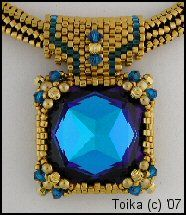 Square Pendant 1 at Sova-Enterprises.com Classic and romantic. Done in peyote - flat and 4 section flat. Seasoned Beginner through Advanced. You must know flat peyote. You will be more confident if you have already done increases and decreases. Still, Step-by-step instructions for each technique, with diagrams or photos. No need to know 4 sectioned (or 4 sided) flat peyote. The instructions will show you how.