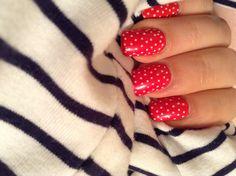 Red polka dots nail art