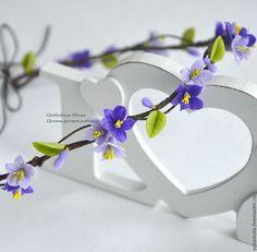 """Купить """"Виола"""" венок с цветами - подарок, свадебный веночек, нарядный веночек, фиолетовый, фиолетовые цветы"""