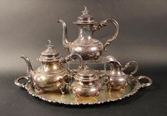Four Piece Sterling Silver Tea and Coffee Service with Sterling Tray, 20th C.