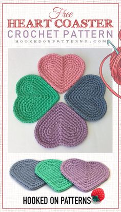 Free Heart Coaster Crochet Pattern – Beautiful heart shaped coasters, with a simple heart loop at the base of the pattern. I will guide you through each step so that beginners can join in too. Crochet Coaster Pattern, Crochet Motif Patterns, Crochet Patterns For Beginners, Knitting Patterns, Crochet Gratis, Free Crochet, Knit Crochet, Free Heart Crochet Pattern, Crochet Birds