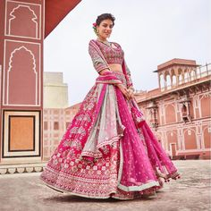 Desi Bride Style   Bridal Lehenga in pink. Outfit by Anita Dongre