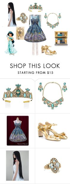 """Real Life: Princess Jasmine"" by ladymienshao ❤ liked on Polyvore featuring Dolce&Gabbana, ELAN and Estée Lauder"