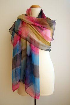 Hand painted silk chiffon scarf. Custom. Silk scarves. Handpainted silk shawl. Wedding gift.Ooak chiffon.Bridesmaids.76x37Inches(190x94cm) by gilbea on Etsy