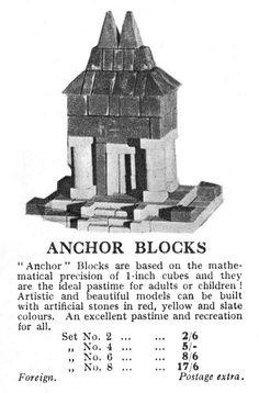1932 Gamleys catalogue entry for Anchor Blocks